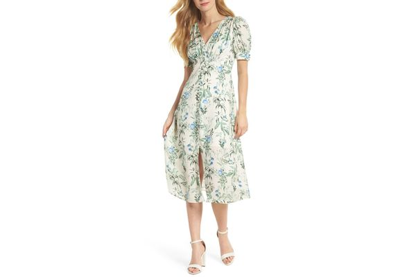 Gal Meets Glam Collection Lauren Botanical Garden Print Midi Dress