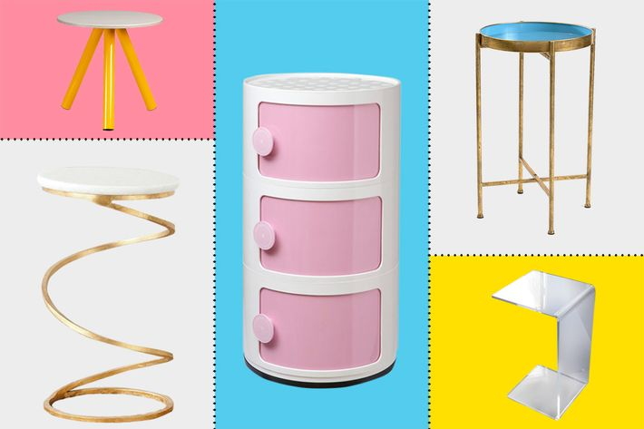 collage of sauder soft modern collection side table, naka cabinet, acrylic slide table, safavieh home collection nevina gold accent table, and innerspace pop up tray table  - strategist best home decor and best side tables