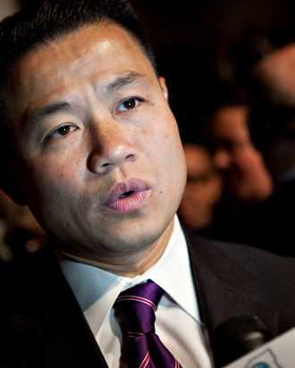 John Liu, New York City comptroller, speaks to a reporter prior to a speech by U.S. President Barack Obama on financial reform at Cooper Union in New York, U.S., on Thursday, April 22, 2010. Obama called on the financial industry to drop its