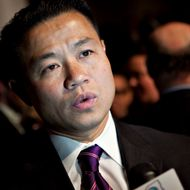 "John Liu, New York City comptroller, speaks to a reporter prior to a speech by U.S. President Barack Obama on financial reform at Cooper Union in New York, U.S., on Thursday, April 22, 2010. Obama called on the financial industry to drop its ""furious efforts"" to fight his regulation plan, saying a failure to impose tougher rules on the market will put the U.S. economic system at risk. Photographer: Daniel Acker/Bloomberg via Getty Images"