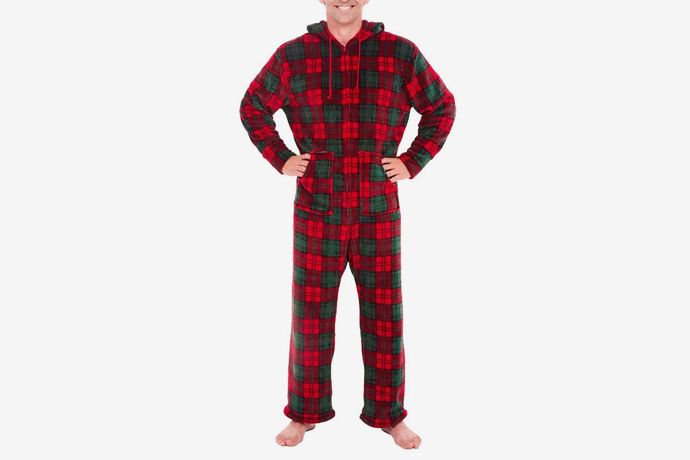 Alexander Del Rossa Men's Fleece Plaid Print Onesie