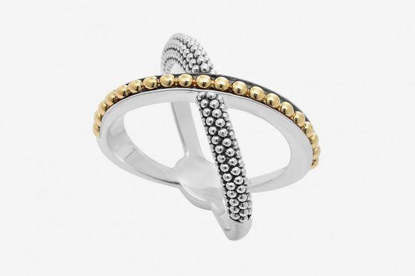KSL Gold Beaded X Ring