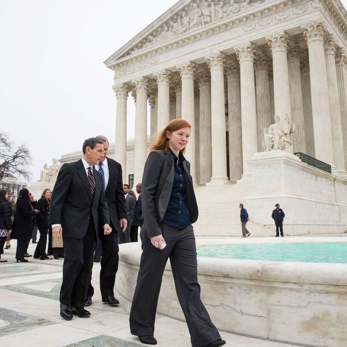 Abigail Fisher in front of the United States Supreme Court.