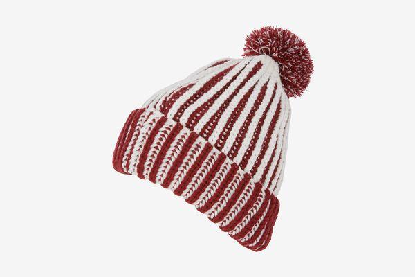 Sakkas Rhea Heathered Stripe Pom Pom Beanie Hat