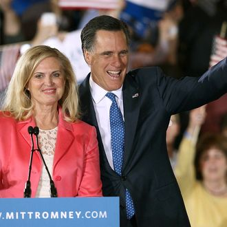 BOSTON, MA - MARCH 06: Republican presidential candidate, former Massachusetts Gov. Mitt Romney and his wife Ann Romney take the stage for a Super Tuesday event at the Westin Copley Place March 6, 2012 in Boston, Massachusetts. Super Tuesday could play a vital role in the nomination of the Republican candidate as ten states hold their primaries or caucuses on the same day. (Photo by Win McNamee/Getty Images)