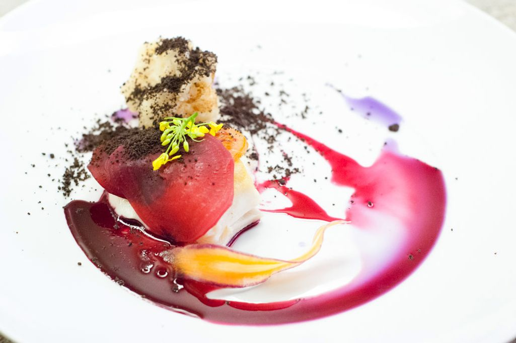 Halibut with blood orange and beets.
