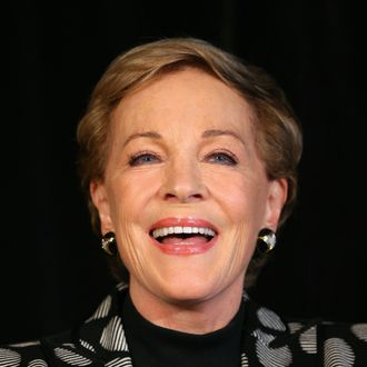 Actress Julie Andrews speaks to media at a press conference ahead of her national tour of