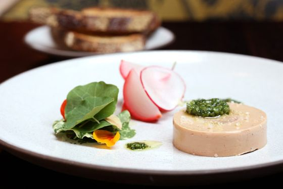 torchon with tete de cochon, radishes, and nasturtium