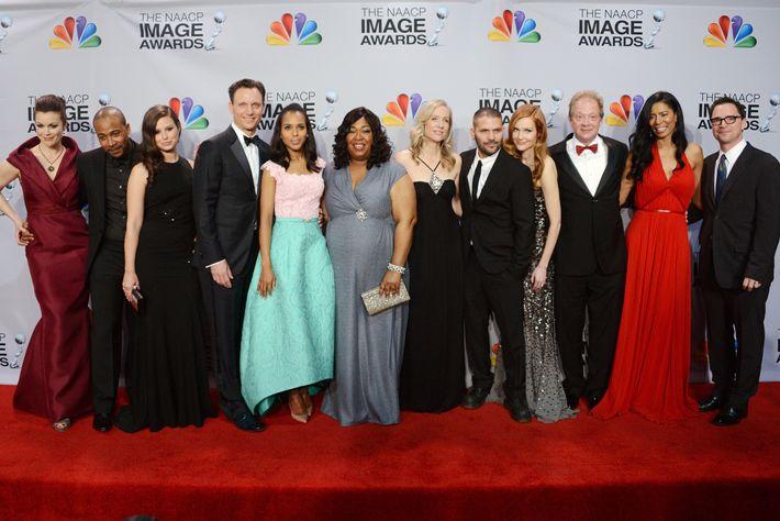 The creators and cast of <em>Scandal</em>.