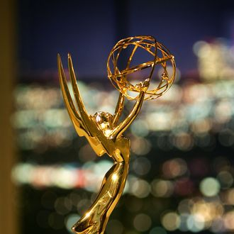 An Emmy statuette is seen in the Architectural Digest Greenroom, where celebrities will wait to go onstage during the 57th Annual Primetime Emmy Awards show at the Shrine Auditorium, on September 15, 2005 in Los Angles, California. The Emmys will take place on September 18. (Photo by David McNew/Getty Images)