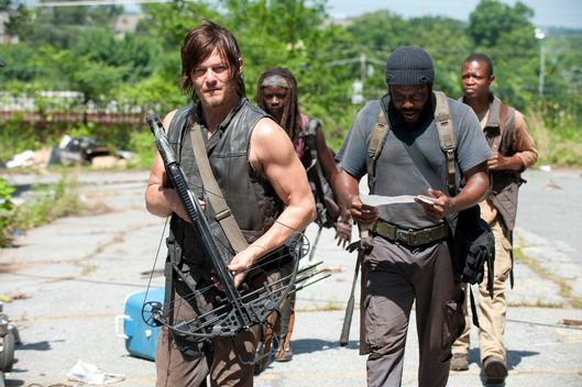 Daryl Dixon (Norman Reedus), Michonne (Danai Gurira), Tyreese (Chad Coleman) and Bob (Lawrence Gilliard Jr.) - The Walking Dead