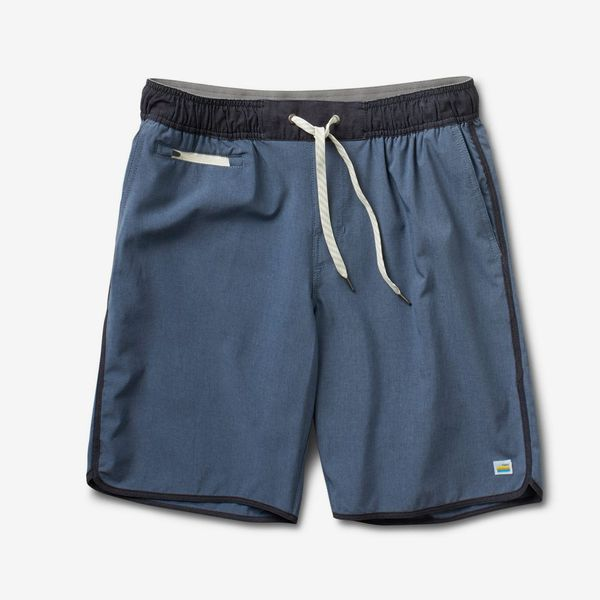 Vuori Banks Short, Azure Linen Texture