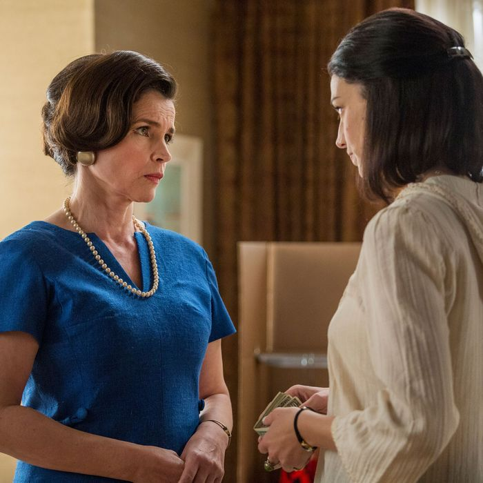 Julia Ormond as Marie Calvet and January Jones as Betty Francis - Mad Men _ Season 7, Episode 9 - Photo Credit: Justina Mintz/AMC