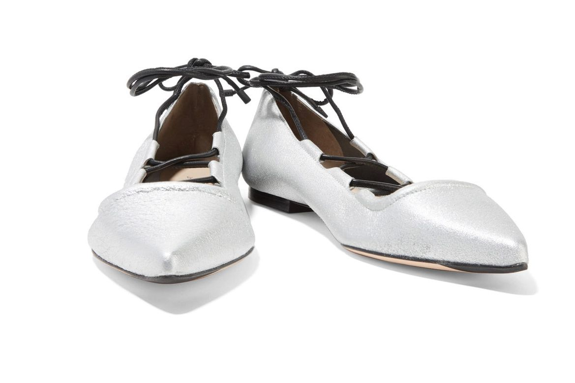 3.1 Phillip Lim Silver-and-Black Kiddie Flats