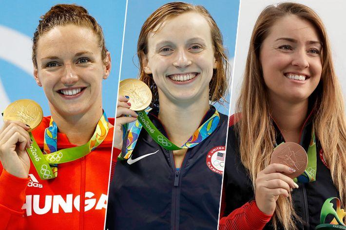 Katinka Hosszú, Katie Ledecky, and Corey Cogdell-Unrein.