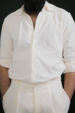 Stòffa Spread Collar Ivory Cotton Knit Pique