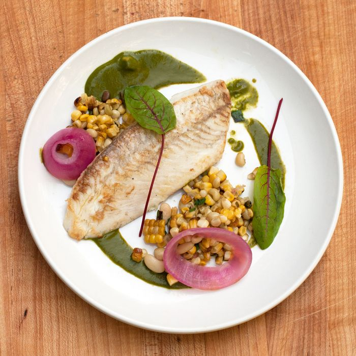 Glazed flounder, sorrel, and roasted corn.