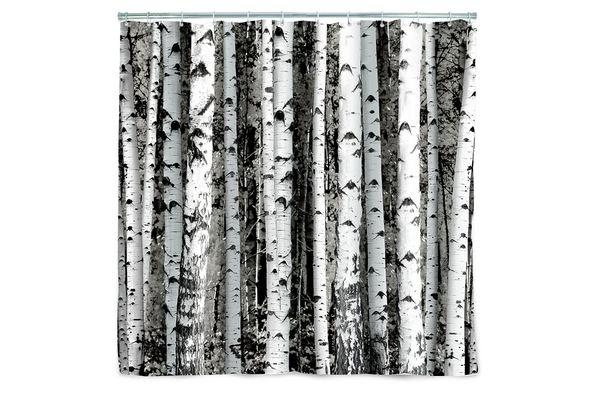 Kikkerland Birch Shower Curtain
