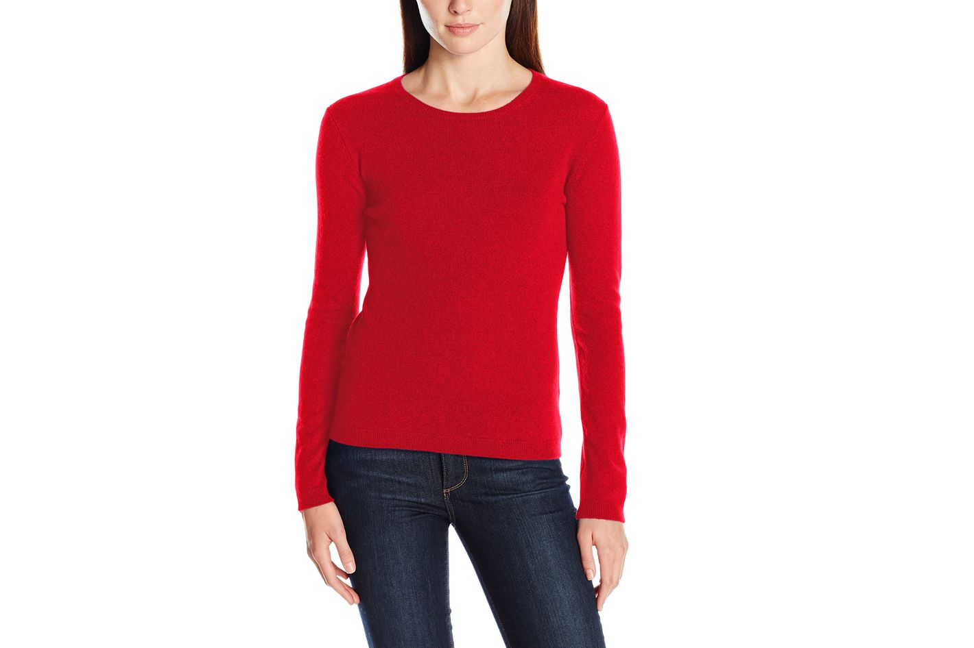 Lark & Ro Cashmere Slim-Fit Basic Crew-Neck Sweater