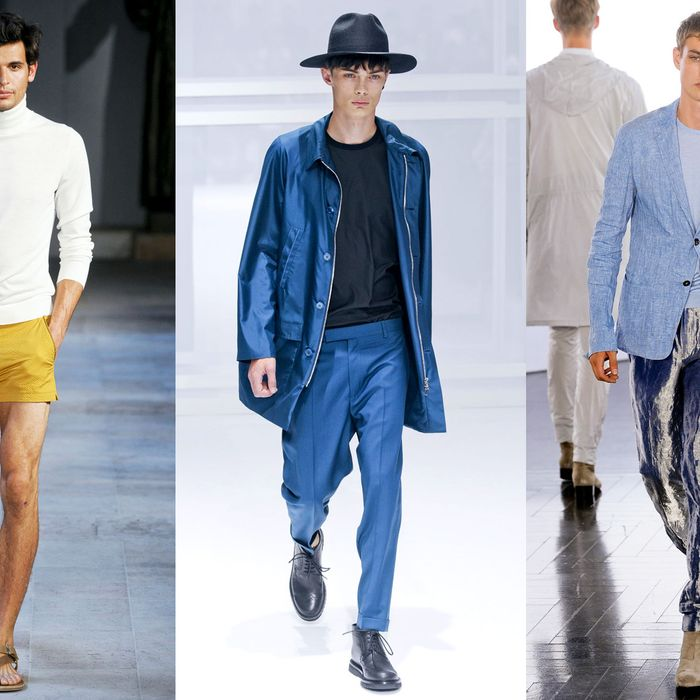 From left: new menswear looks from Hermès, Dior Homme, and Cerruti.