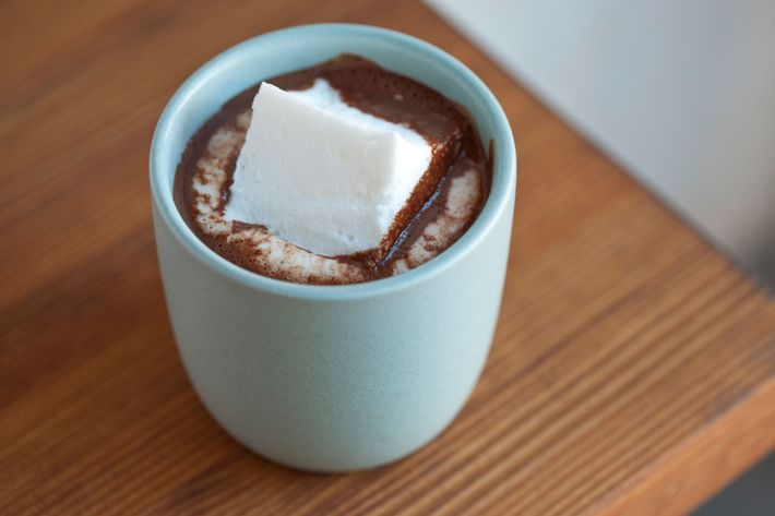 The hot chocolate is made with Ritual Chocolate's Belize 75 percent cacao and a house-made marshmallow.