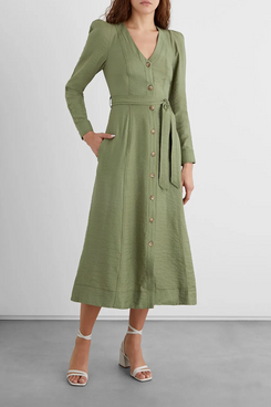 Iris & Ink Adrienne Belted Textured-Crepe Midi Dress