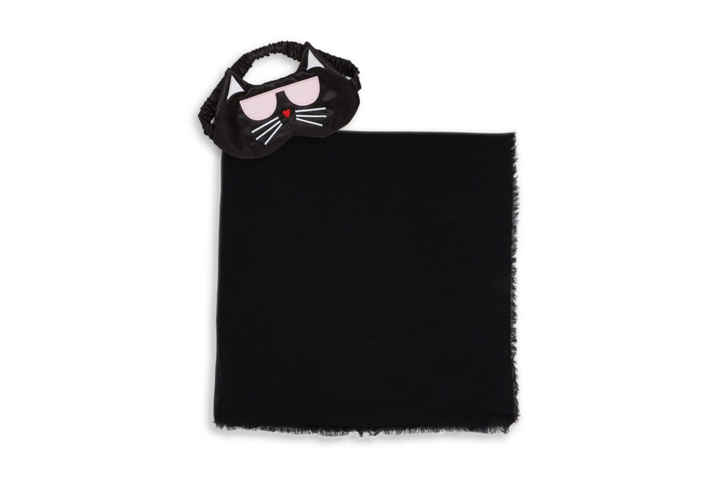 Karl Lagerfeld Three Piece Cat Eye Mask, Wrap and Pouch Travel Set