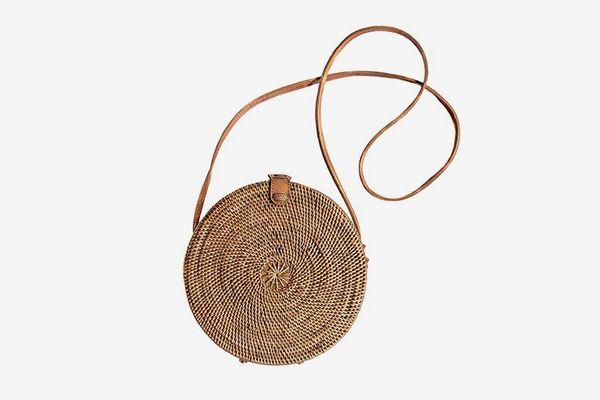 Round Rattan Basket Handbag