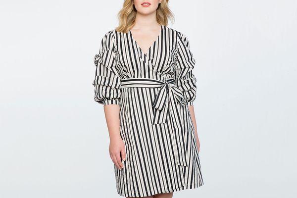 Printed Tucked Puff Sleeve Wrap Dress