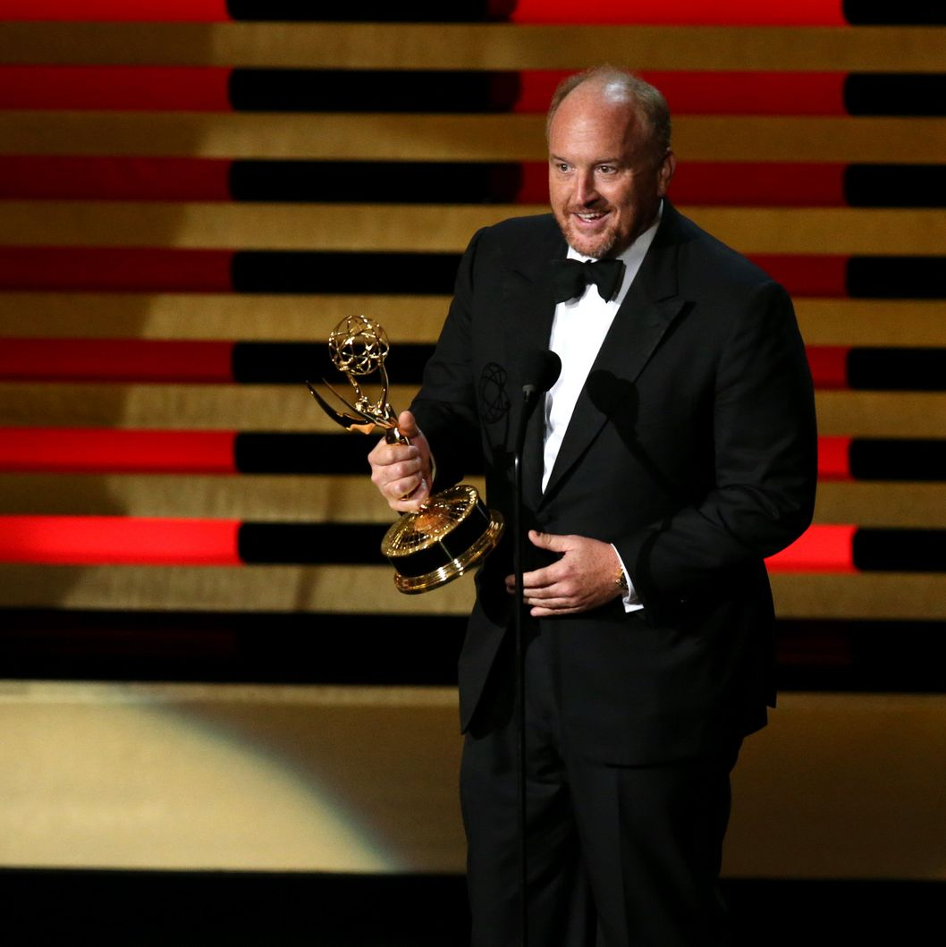 LOS ANGELES, CA - AUGUST 25:  66th ANNUAL PRIMETIME EMMY AWARDS -- Pictured: Show creator, actor, Director, Executive Producer Louis C.K. accepts the Outstanding Writing for a Comedy Series award for 'Louie' ('So Did the Fat Lady') on stage during the 66th Annual Primetime Emmy Awards held at the Nokia Theater on August 25, 2014.  (Photo by Mark Davis/NBC/NBC via Getty Images)