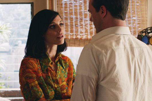 Jessica Pare as Megan Draper and Jon Hamm as Don Draper - Mad Men _ Season 7, Episode 3 - Photo Credit: Courtesy of AMC