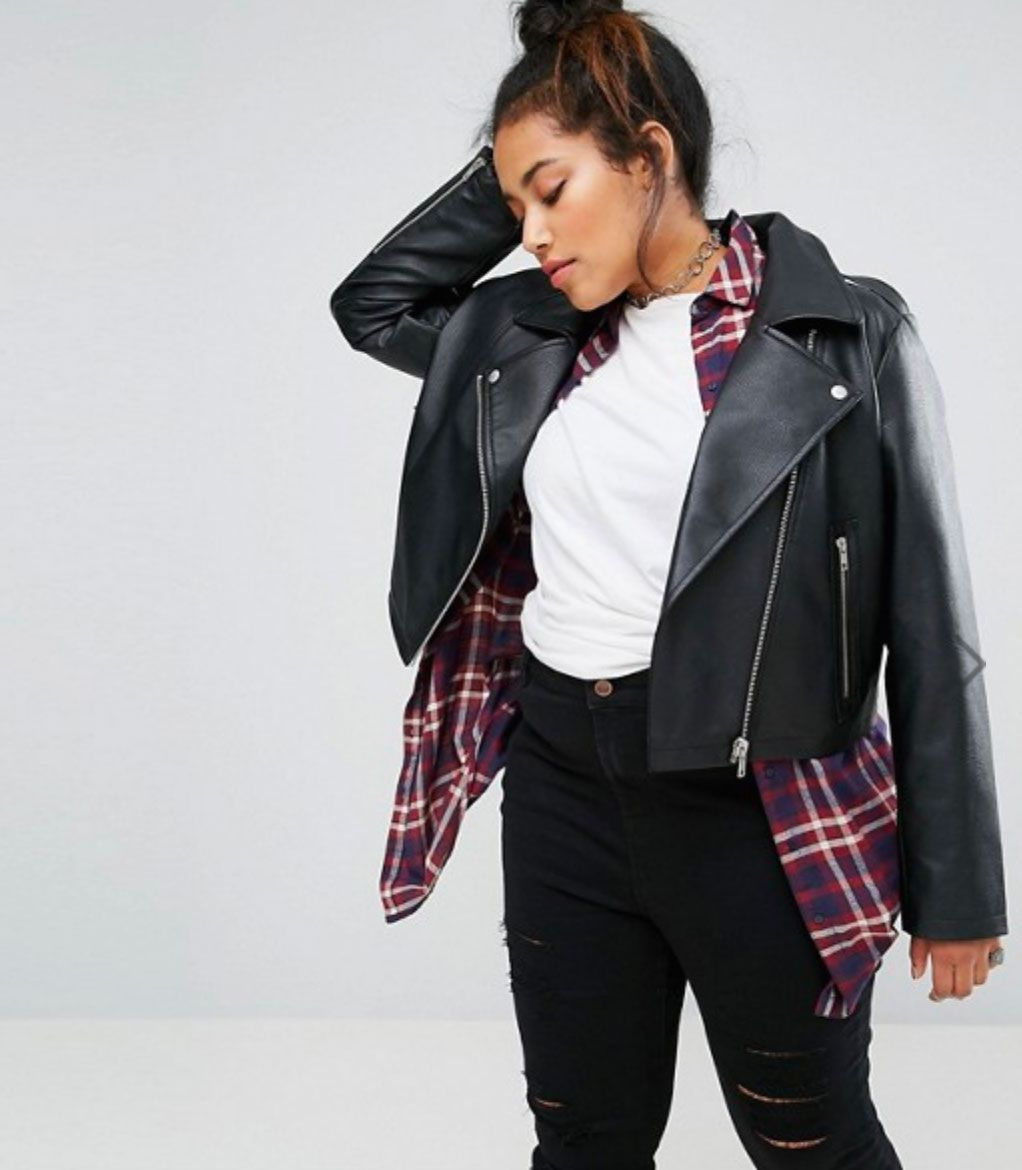 ASOS Curve Ultimate Leather Look Biker Jacket