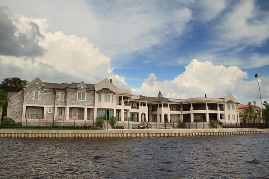 A waterfront view of New York Yankee's player Derek Jeter's Tampa home. The 31,000 square foot home is estimated to have cost Jeter $7.7 Million dollars.