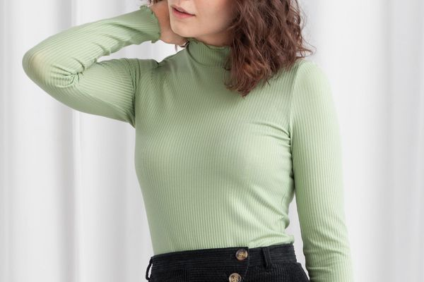 & Other Stories Stretch-Rib Mock-Neck Top