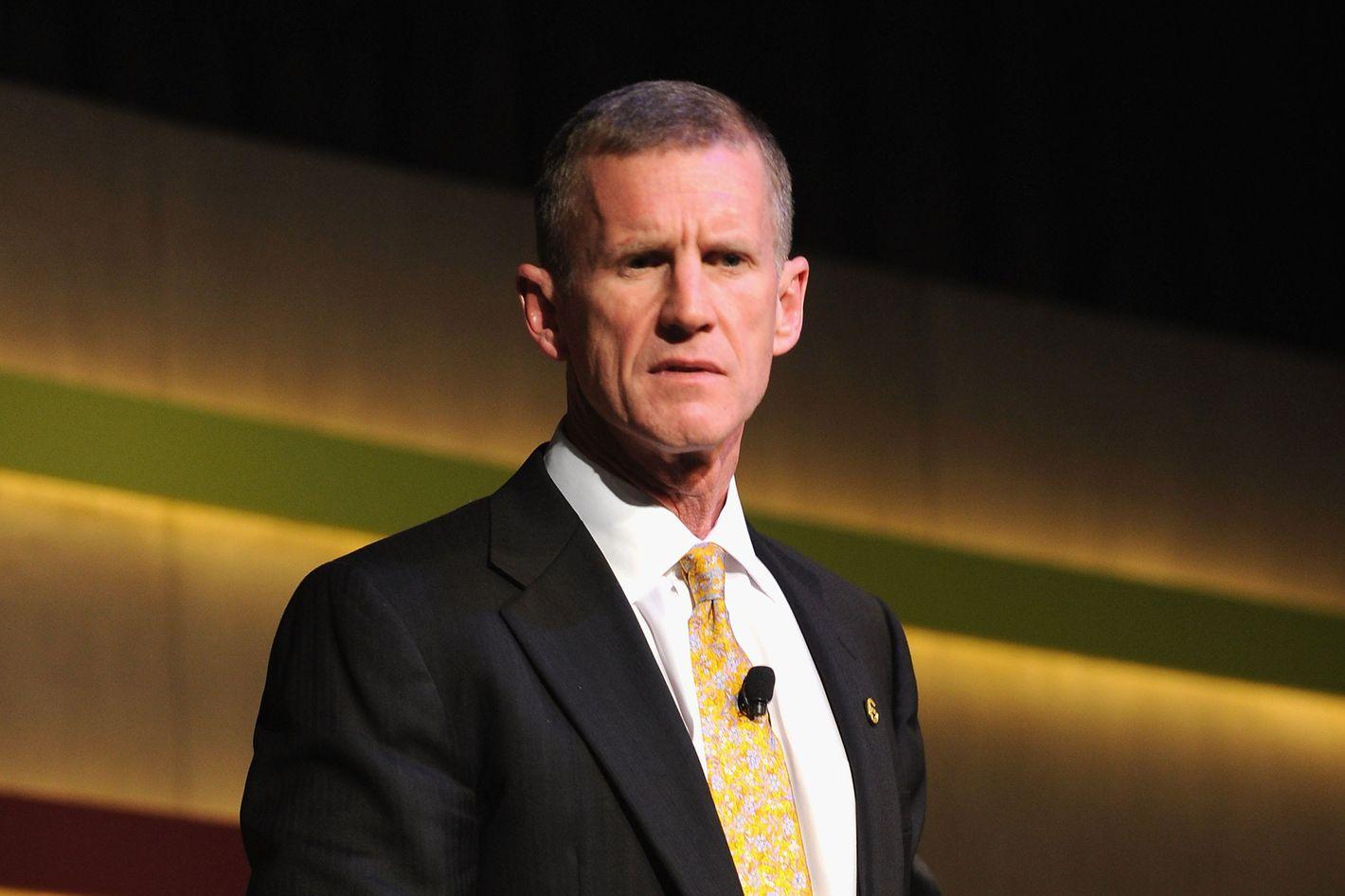 General Stanley McChrystal speaks at the Robin Hood Veterans Summit at Intrepid Sea-Air-Space Museum on May 7, 2012 in New York City.