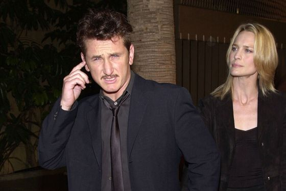 "384118 05: Actors Sean Penn and Robin Wright Penn arrive at the premiere of Warner Bros. Pictures'' ""The Pledge"" January 9, 2001 at the Egyptian Theatre in Hollywood, CA. (Photo by Chris Weeks/Liaison)"