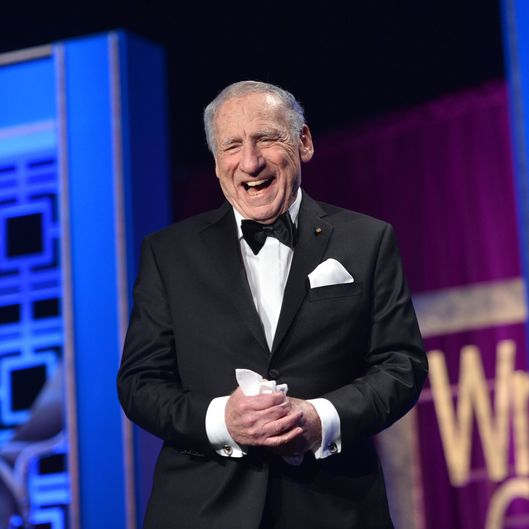 LOS ANGELES, CA - FEBRUARY 01:  Presenter Mel Brooks speaks onstage during the 2014 Writers Guild Awards L.A. Ceremony at J.W. Marriott at L.A. Live on February 1, 2014 in Los Angeles, California.  (Photo by Alberto E. Rodriguez/Getty Images for WGAw)