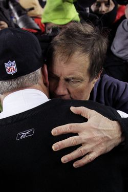 FOXBORO, MA - JANUARY 16:  Head coach Bill Belichick of the New England Patriots hugs head coach Rex Ryan of the New York Jets following their 2011 AFC divisional playoff game at Gillette Stadium on January 16, 2011 in Foxboro, Massachusetts.  (Photo by Elsa/Getty Images)