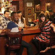 "NEW GIRL:  L-R:  Max Greenfield, Jake Johnson, Lamorne  Morris, Hannah Simone and Zooey Deschanel in part one of the special one-hour ""Jeff Day/Helmet"" episode of NEW GIRL airing Tuesday, April 19 (8:00-9:00 PM ET/PT) on FOX.  ©2016 Fox Broadcasting Co.  Cr:  Patrick McElhenney/FOX"