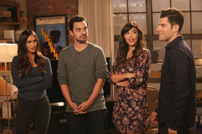"NEW GIRL:  L-R:  Guest star Megan Fox, Jake Johnson, Hannah Simone and Max Greenfield in the ""Wig"" episode of NEW GIRL airing Tuesday, Feb. 16 (8:00-8:30 PM ET/PT) on FOX.  ©2016 Fox Broadcasting Co.  Cr:  Adam Taylor/FOX"
