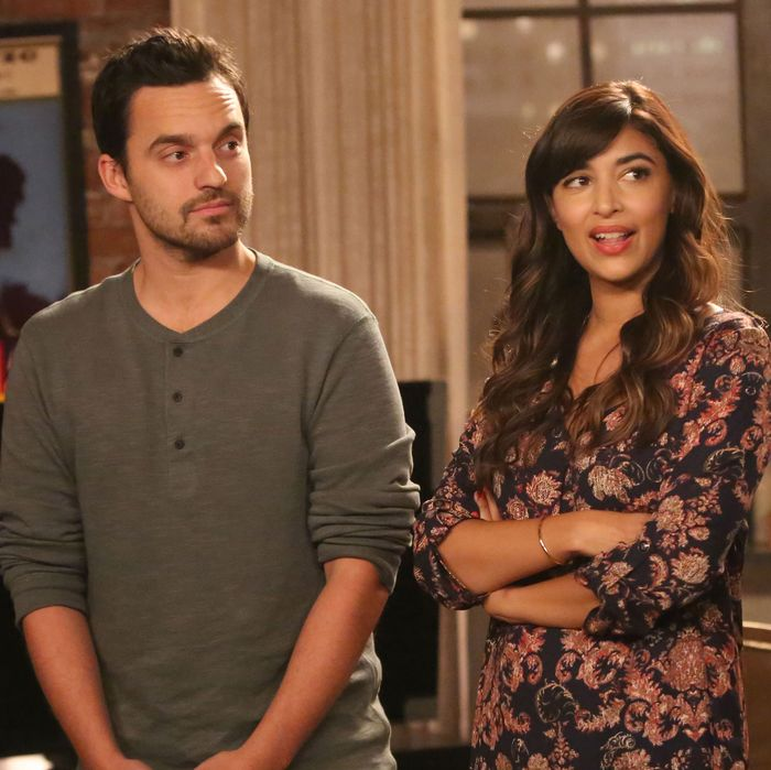 NEW GIRL: L-R: Guest star Megan Fox, Jake Johnson, Hannah Simone and Max Greenfield in the