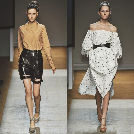 "Pilati's show notes deemed this collection ""a natural and honest chic."" The clothes were arguably the most minimalist of Pilati's work, rendered in crisp, neutrally colored cotton and silk.  <a href=""http://nymag.com/fashion/fashionshows/2010/fall/main/europe/womenrunway/yvessaintlaurent/"">See the Complete Spring 2010 YSL Collection</a>"