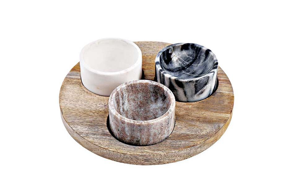 Artisanal Kitchen Supply Marble and Wood Pinch Bowl Set
