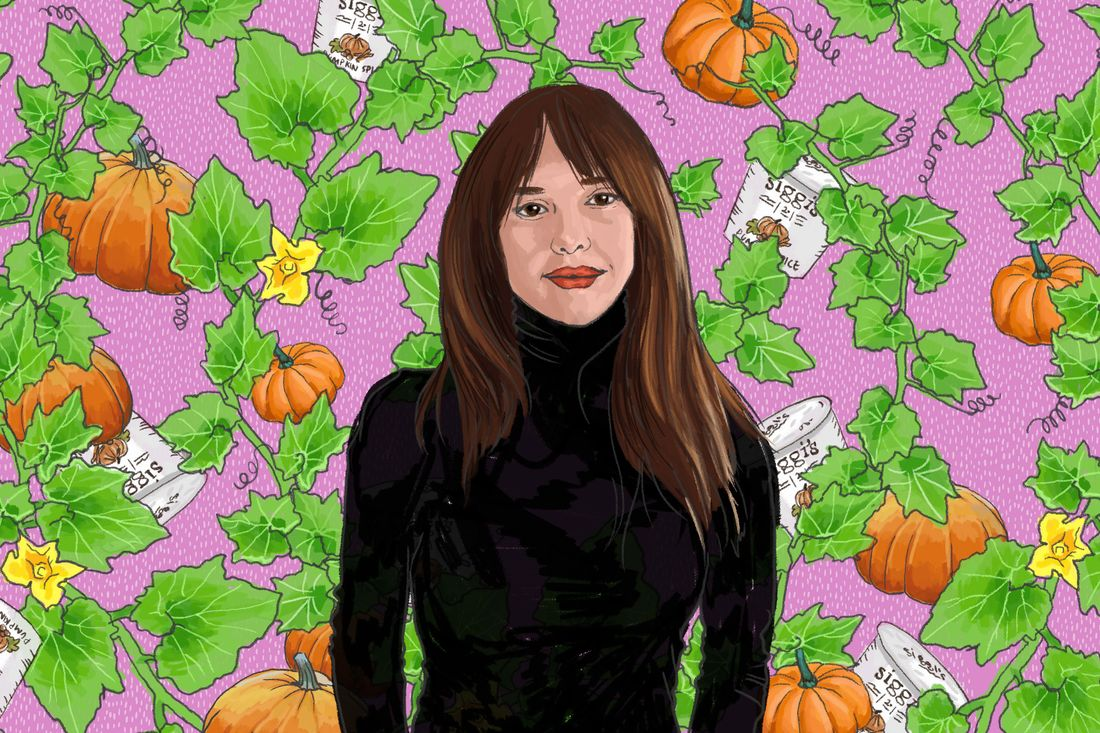 An illustrated portrait of a brunette in a black turtleneck against a background of pumpkins and cups of Siggi's yogurt.
