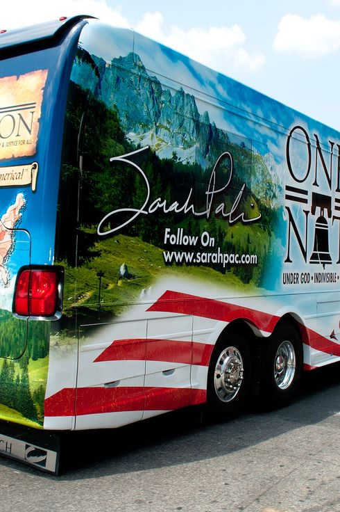 "PHILADELPHIA, PA - MAY 31: Sarah Palin's tour bus leaves the Liberty Bell Center during her ""One Nation"" bus tour May 31, 2011 in Philadelphia, Pennsylvania. Palin is visiting American landmarks during the tour, although she is not informing the media as to where she is going, prompting many media outlets to follow her bus from place to place. (Photo by Jeff Fusco/Getty Images)"