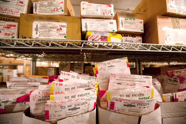 Rape kits sit in storage.