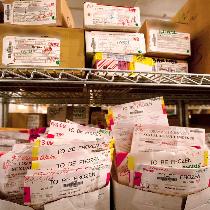 Rape kits sit in storage.