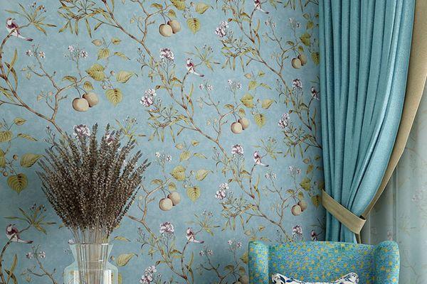 Blooming Wall Vintage Flower Trees Birds Wallpaper