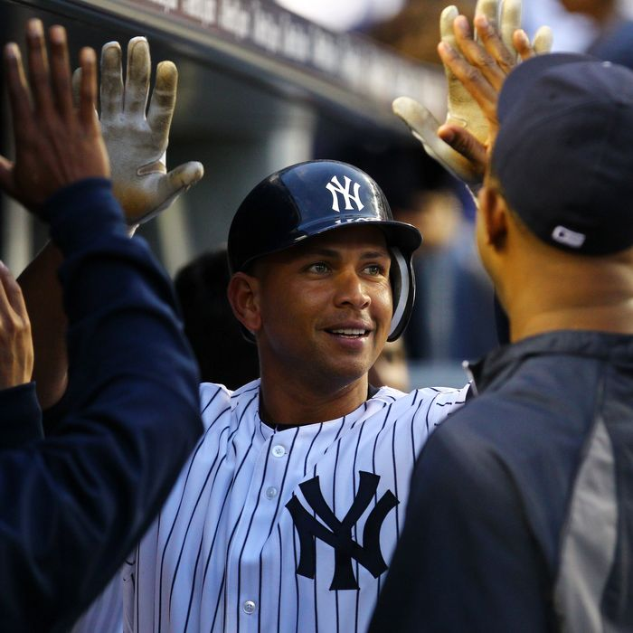 Alex Rodriguez #13 of the New York Yankees celebrates hit second home run against the Kansas City Royals during their game on May 23, 2012 at Yankee Stadium in the Bronx borough of New York City.