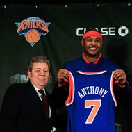 NEW YORK, NY - FEBRUARY 23:  New York Knicks owner (L) Jim Dolan introduces new player (R) Carmelo Anthony at a press conference at Madison Square Garden on February 23, 2011 in New York City. NOTE TO USER: User expressly acknowledges and agrees that, by downloading and/or using this Photograph, User is consenting to the terms and conditions of the Getty Images License Agreement.  (Photo by Chris Trotman/Getty Images) *** Local Caption *** Carmelo Anthony;Jim Dolan